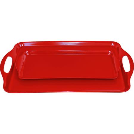 Calypso Basics, Tray Set(Tidbit & Rectangular), Red White Rectangular Tray