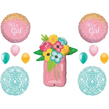 Mason Jar Baby Girl Shower Balloons Decorations Supplies Shabby Chic Country - Shabby Chic Party Decorations