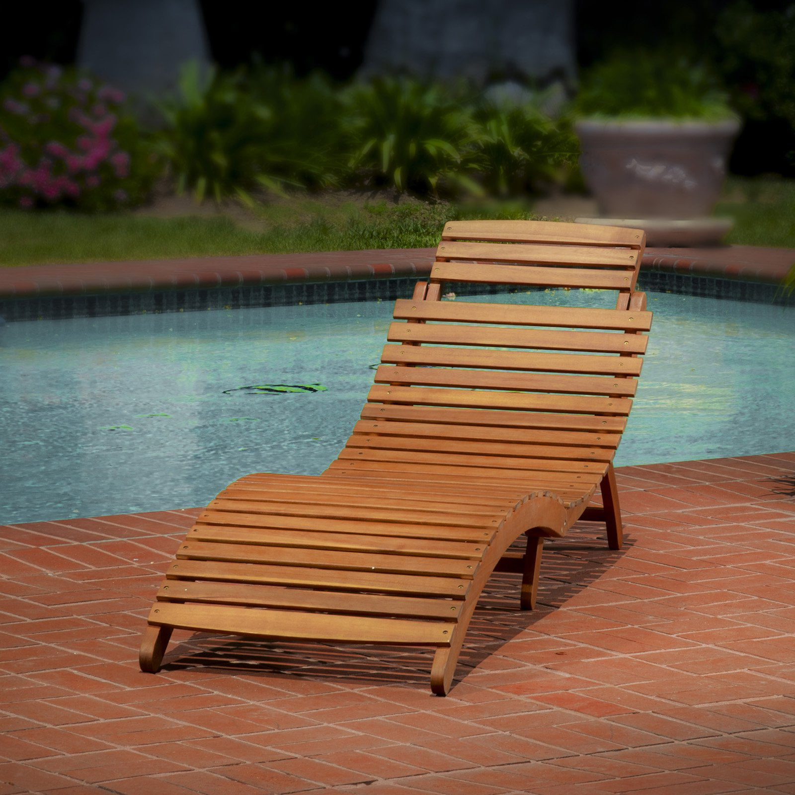 Lahaina Wood Outdoor Chaise Lounge Walmart
