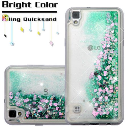 Valor Hearts Quicksand Glitter Hybrid PC/TPU Dual Layer Case For LG Tribute HD - Green - image 1 of 5