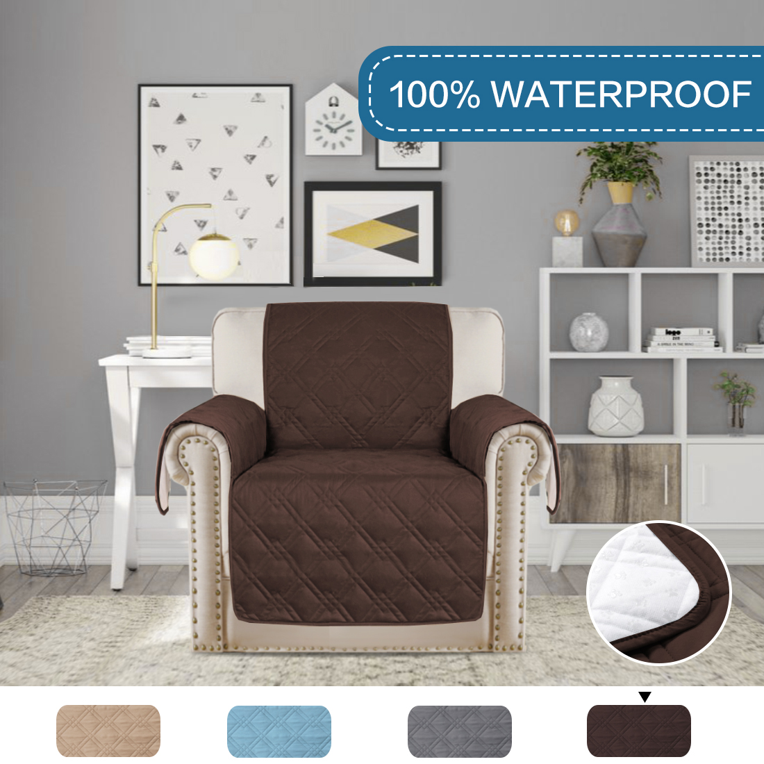 75 X 65 Chair: Brown H.VERSAILTEX 100/% Water Resistant Chair Slipcover Waterproof Furniture Protector Slip Reducing Backing Features Protect from Pets Spills Wear and Tear Stay in Place