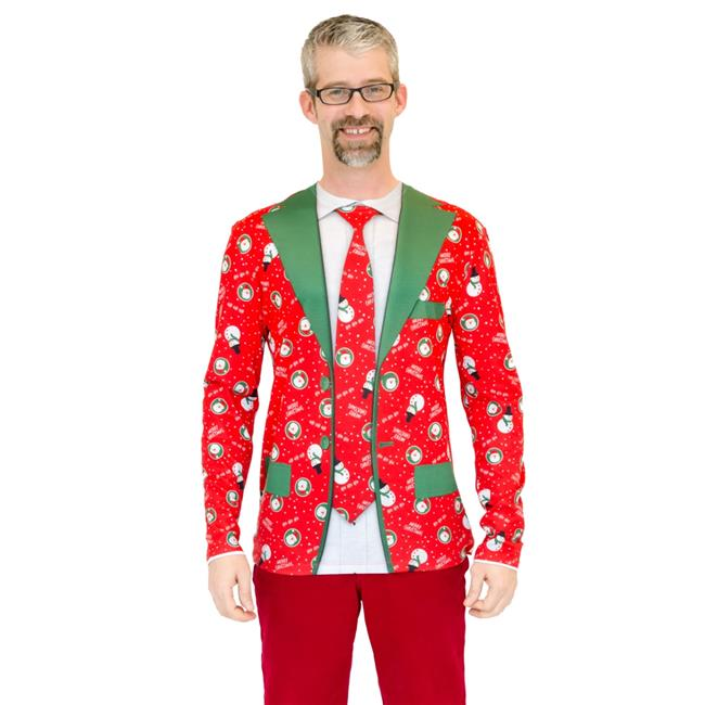 Faux Real Men's Christmas Suit And Tie Long Sleeve T-Shirt, Red, Medium - image 1 de 1
