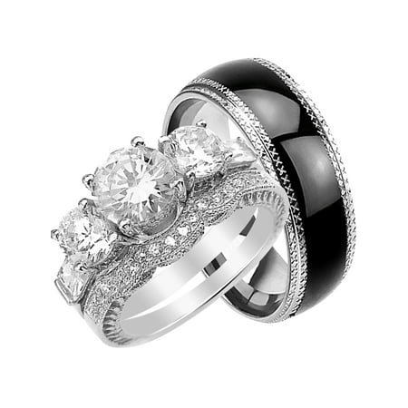 His and Hers Wedding Ring Set Matching Wedding Bands for Him and Her (7/9