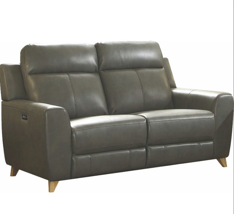 Acme Cayden Power Motion Loveseat in Gray Leather Finish 54201 by Acme Furniture