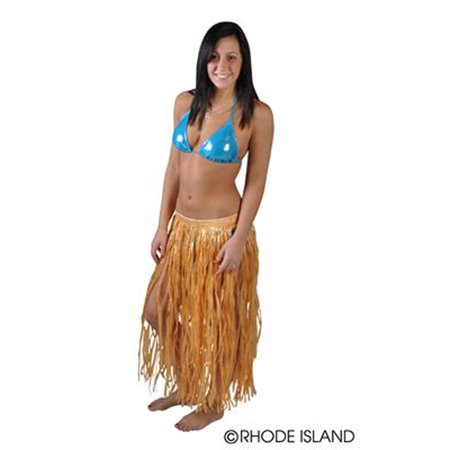 "Rinco Hula Girl Hawaiian Luau 32""L Skirt, Natural, One Size Up to 42"" Waist"