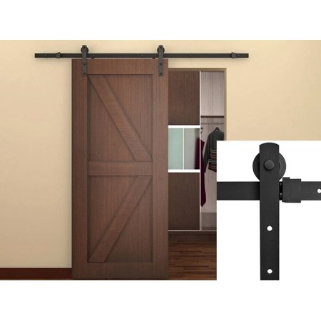 5.5FT Antique Style Country Sliding Barn Door Hardware Kit Frosted Black  Steel - 5.5FT Antique Style Country Sliding Barn Door Hardware Kit Frosted