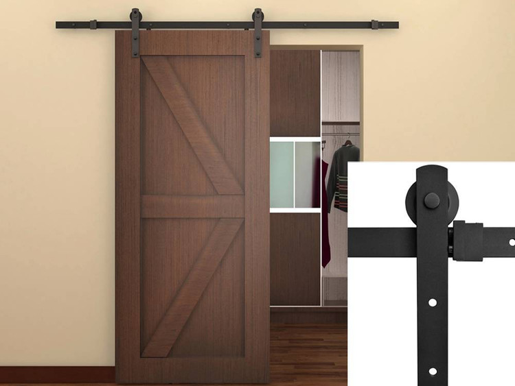 5.5FT Antique Style Country Sliding Barn Door Hardware Kit Frosted Black  Steel