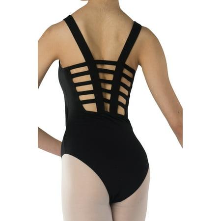 48d8d308aaca Danshuz - Women s Ladder Back Design Black Leotard - Walmart.com