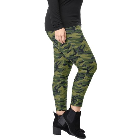 Women Plus Size Elastic Waist Stretch Camouflage Skinny Leggings Green 1X - image 7 of 7