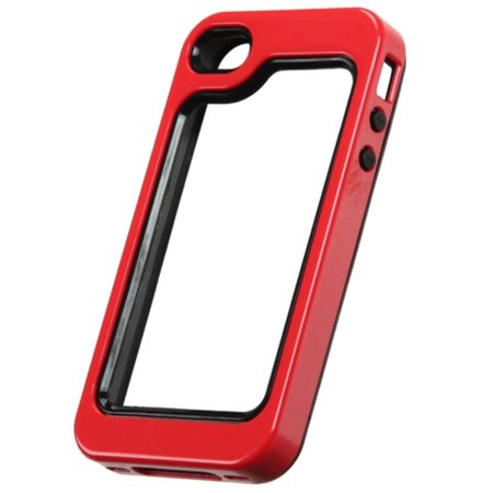 Insten Black/Solid Red MyBumper Phone Protective Case Cover For APPLE iPhone 4S/4 - image 2 of 3