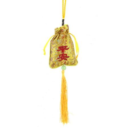 Unique Bargains Automobile Decoration Braid Nylon String Sachet Hanging Ornament Yellow 28cm](Yellow Nylons)