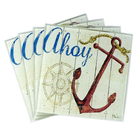 Anchor Coasters (Ahoy Ship Anchor With Nautical Compass Glass Drink Coasters Set of 4 )