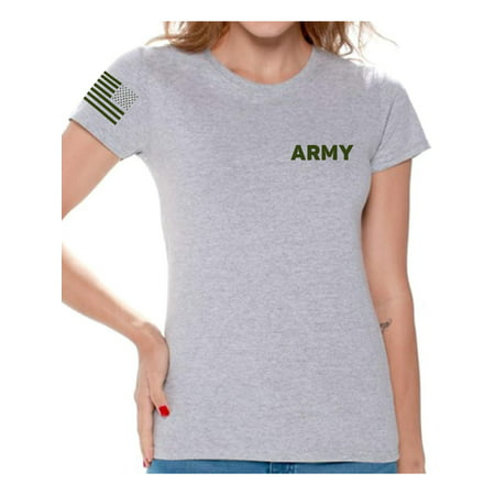 Awkward Styles Army Tshirt for Women Army Shirt with Usa Flag on Sleeve Patriots Gifts for Her Military Army Shirt American Flag Sleeve Army T Shirt for Women Army Gifts Army Physical Training