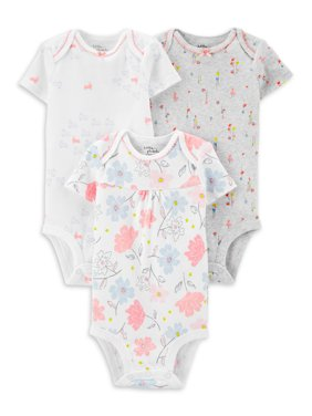 Little Planet Organic Baby Girl Short Sleeve Bodysuits, 3-Pack