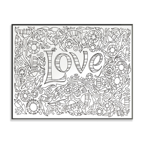 Stupell Industries DIY Coloring Wall Plaque Garden of Love Graphic Art