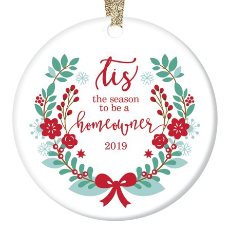 First Christmas New Homeowners Ornament Pretty Winter Floral 2019 Keepsake Gift Ideas Mr & Mrs Wedding Housewarming Party Realtor Client Presents Ceramic 3