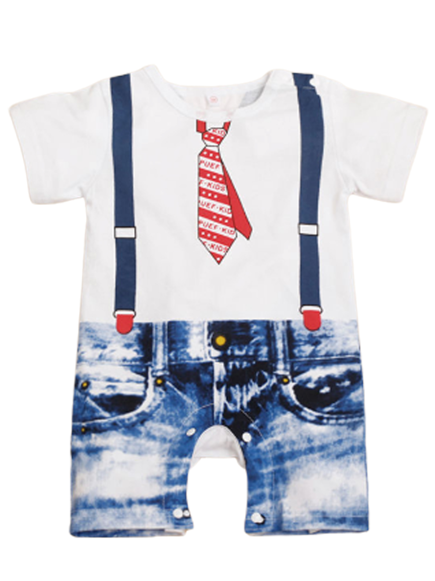 Baby Boys Mickey Mouse Short Sleeve Romper White and Blue 3-24 Months