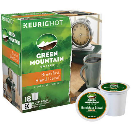 Green Mountain Coffee Breakfast Blend Decaf Coffee K-Cups, 18 count