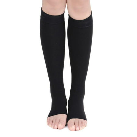 Open Toe Compression Socks Medical Grade – Firm, Easy-On, (20-30 mmHg), Knee High,Toeless, Best Stockings for Men and Women - Varicose Veins, Post Surgery, Edema, Improve