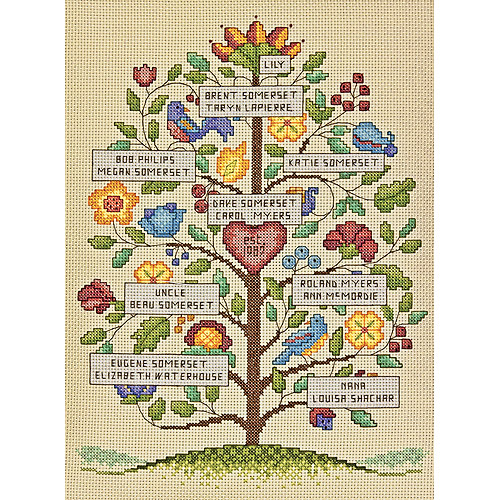"Dimensions Vintage Family Tree Counted Cross Stitch Kit, 9"" x 12"", 14-Count"
