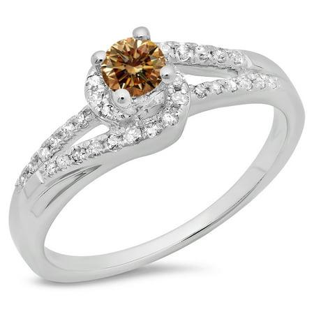 Dazzlingrock Collection 0.45 Carat (ctw) 14K Champagne & White Diamond Bridal Engagement Ring 1/2 CT, White Gold, Size 6