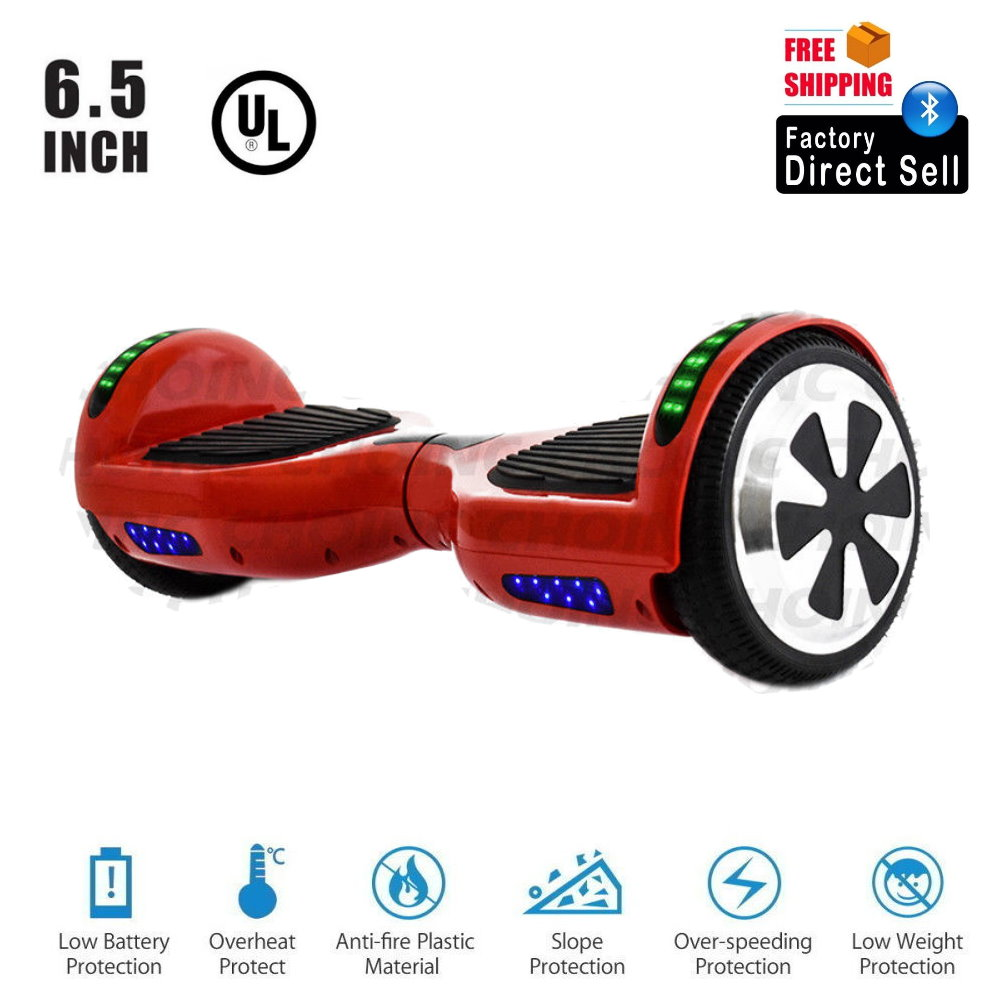 """UL 2272 Certified Hoverboard 6.5"""" Self Balancing Two Wheel Electric Scooter with Top LED Light - Red"""