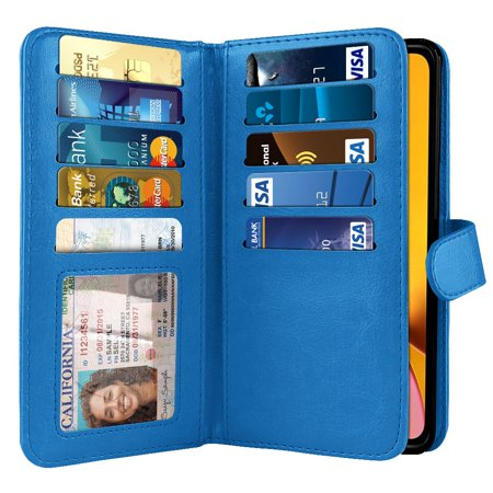 Blue Pouch (NEXTKIN Multi Card Slots Double Flap Wallet Pouch Case for Apple iPhone XR 6.1