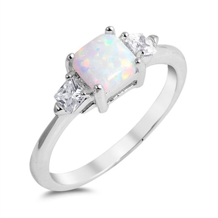 - Sterling Silver Women's White Simulated Opal Square Simulated Princess Cut Ring (Sizes 5-10) (Ring Size 5)