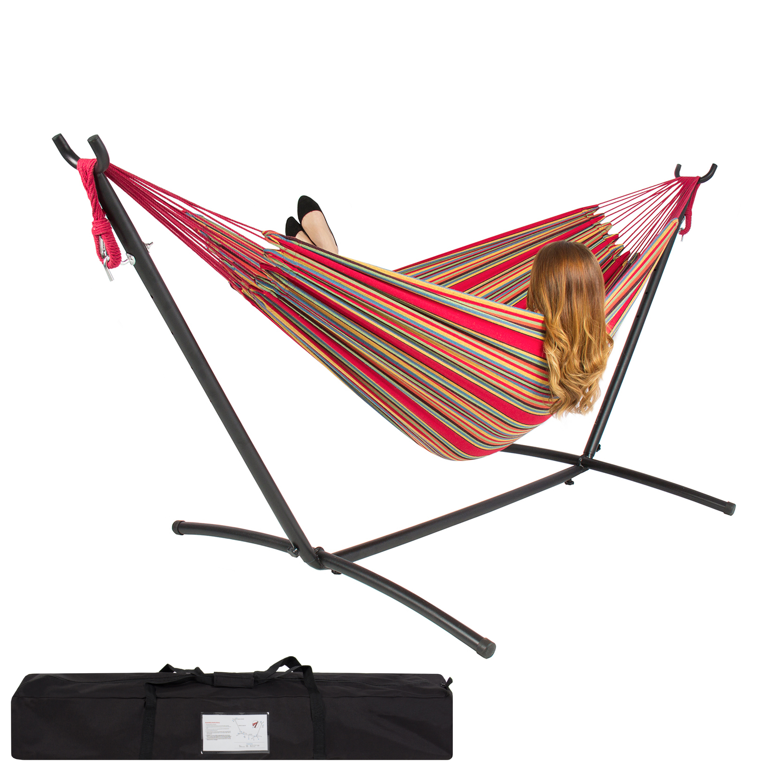 Double Hammock With Space Saving Steel Stand Includes Portable Carrying Case Red by