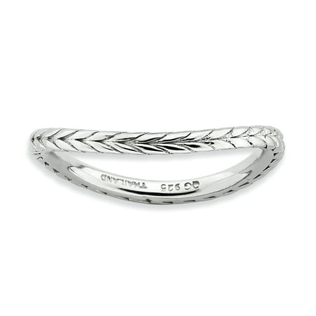 Sterling Silver Stackable Expressions Polished Rhodium-plate Wave Ring Size 5 - image 3 of 3