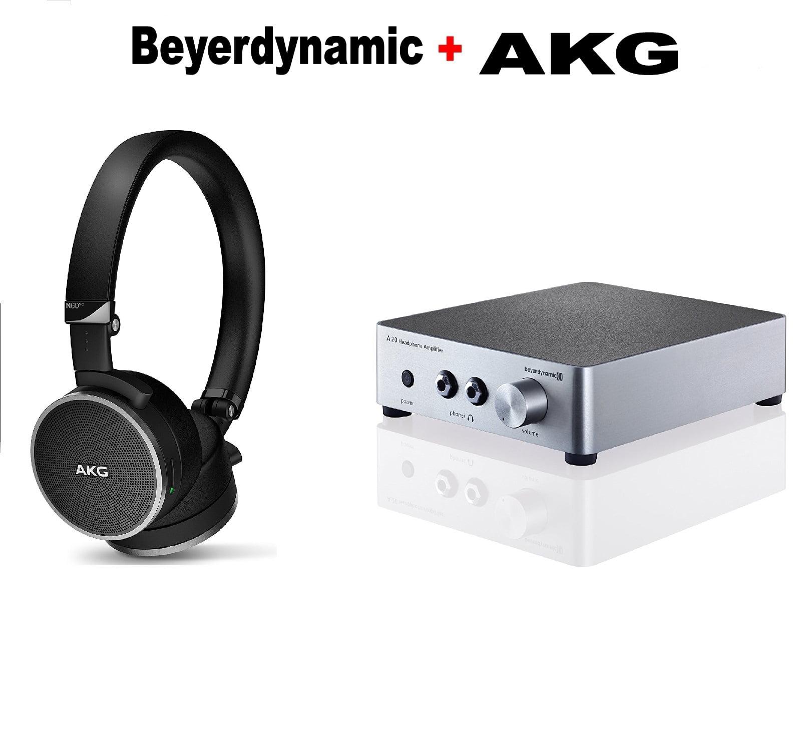 AKG N60 NC Noise-Canceling On-Ear Headphones (Black) + Beyerdynamic A20 Headphone Amplifier - Silver Bundle