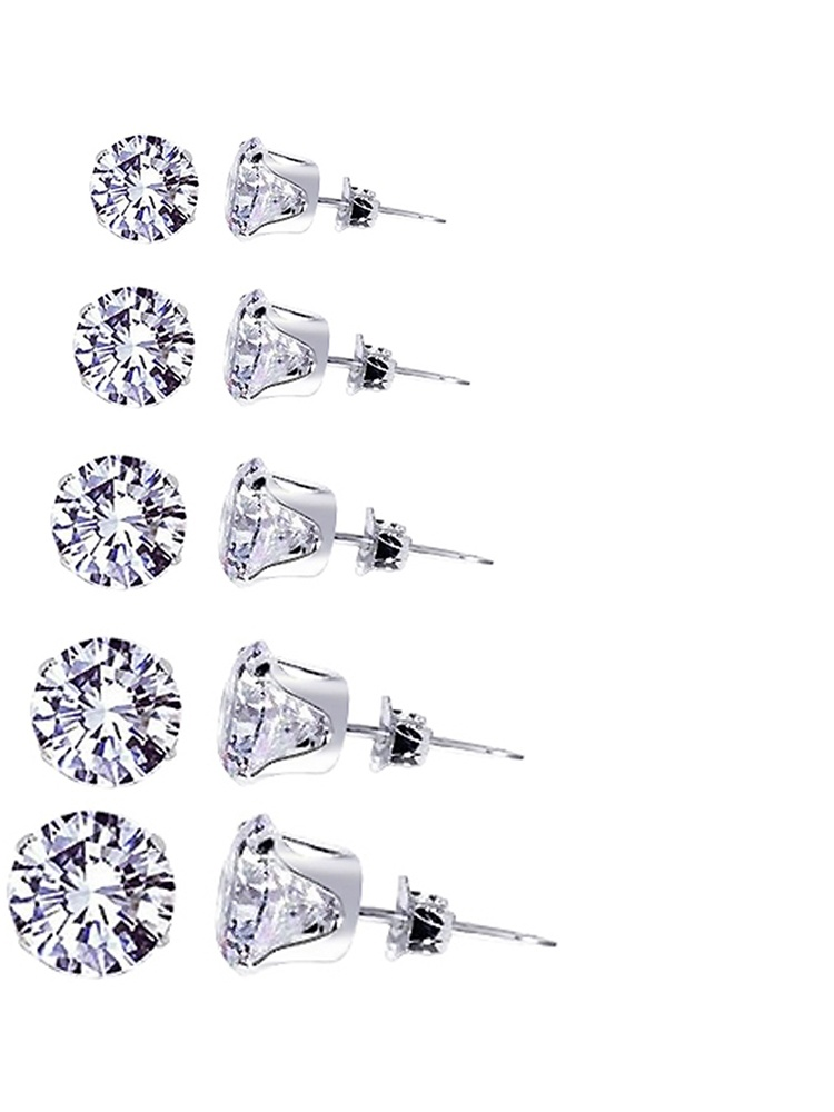 Sterling Silver .925 3mm Spider Earrings CZ Cubic Zirconia *New with Gift Box