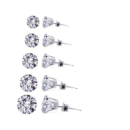Round Cubic Zirconia Set (Gem Avenue 925 Sterling Silver 3mm to 7mm Round Clear CZ Stud Earrings Set April Birthstone Cubic Zirconia )