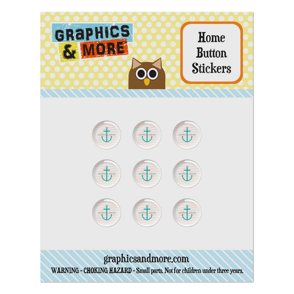 Anchors Away Nautical Theme Home Button Stickers Set Fit Apple iPhone iPad iPod Touch