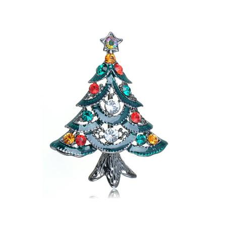 Merry Christmas Colorful Crystal Rhinestone Green Enamel Holiday Tree Pin Brooch