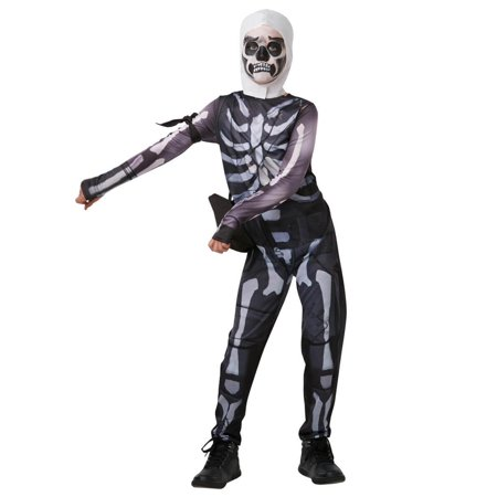 Fortnite Skull Trooper Teen Costume Jumpsuit w/ Hood & Accessories