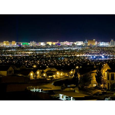 View of Neighborhood with Las Vegas, Nevada Skyline in Distance Print Wall