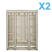 "X2 Lot 54"" x 69"" Portable Closet Storage Organizer Wardrobe Clothes Rack Shelves"