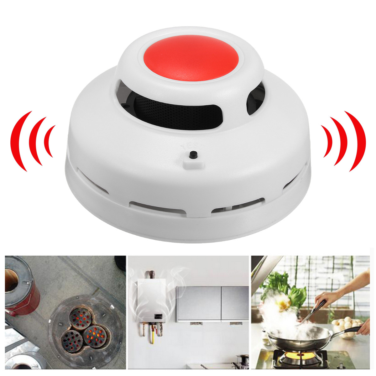 2 in 1 SMT CO Carbon Monoxide Fire & Smoke Alarm Detector Smart Gas Sensor Sound & Flash Alarm Warning Human Voice Prompt SMT Photoelectric Tester Battery Operated