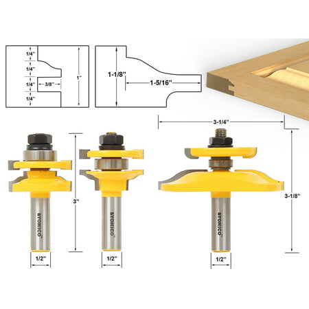 Ogee Raised Panel Bit (Ogee Rail & Stile w/ Back cutter Panel Raiser 3 Bits Router Bit Set -Yonico 12345)