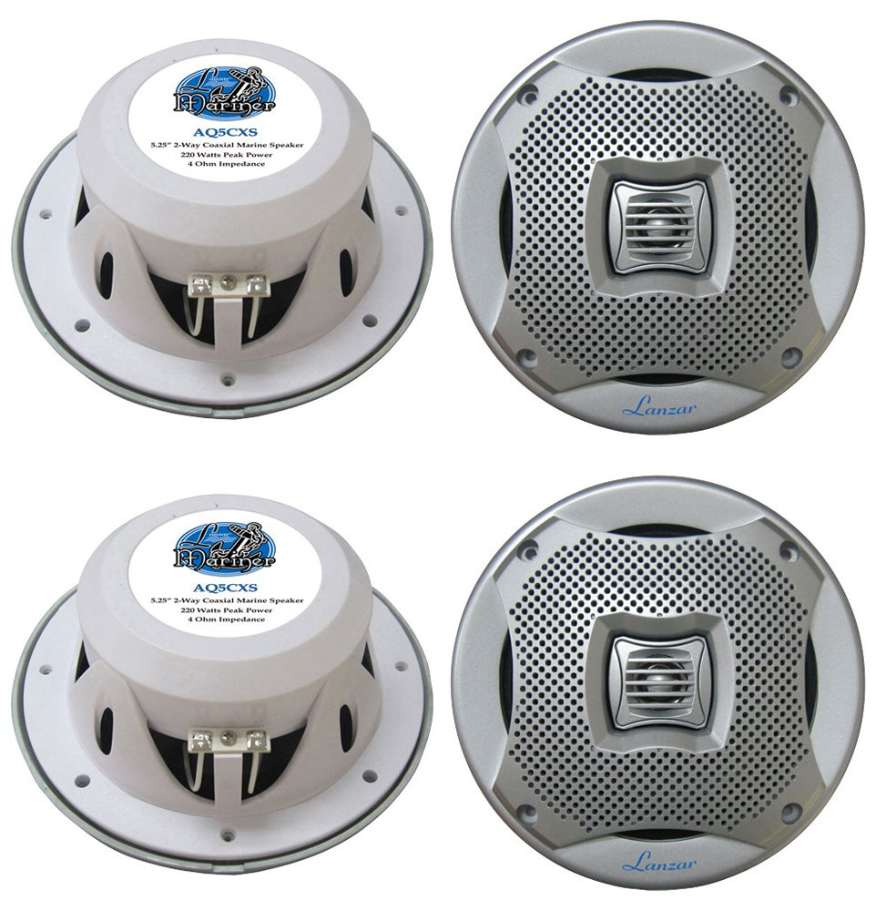 "4) NEW LANZAR AQ5CXS 5.25"" 800W 2-Way Marine/Boat Audio Stereo Speakers Silver"