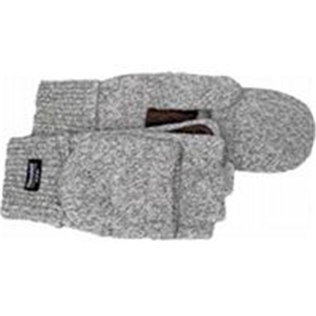 Boss Manufacturing 656390 Fingerless Ragg Wool Fingerless Glove With Mitt Flap, Gray, Large