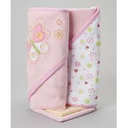 Spasilk 2 Hooded Towels & 2 Washcloths Set, Pink Butterfly