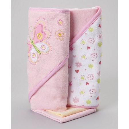 Spasilk 2 Hooded Towel 2 Washcloths Set, Pink Butterfly