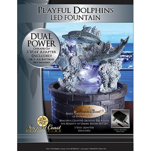 Newport Coast Collection Playful Dolphins LED Fountain by LHS International LLC
