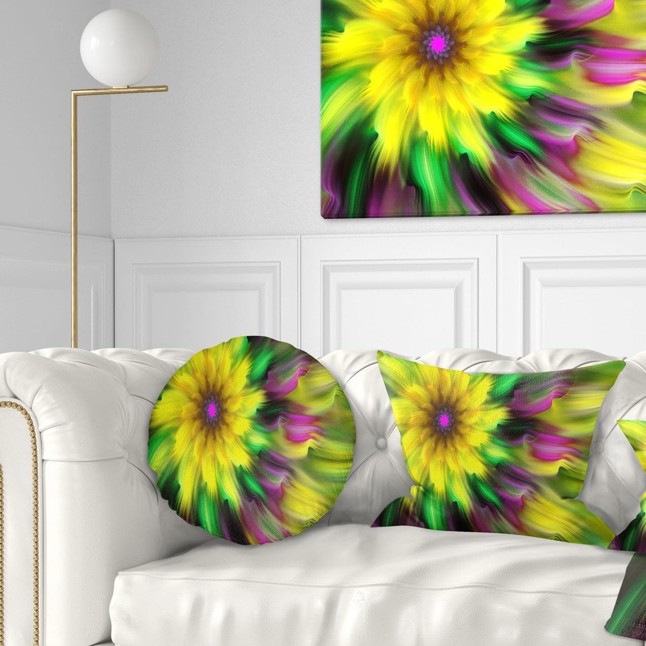 Design Art Designart Dance Of Yellow Exotic Flower Floral Throw Pillow Walmart Com Walmart Com