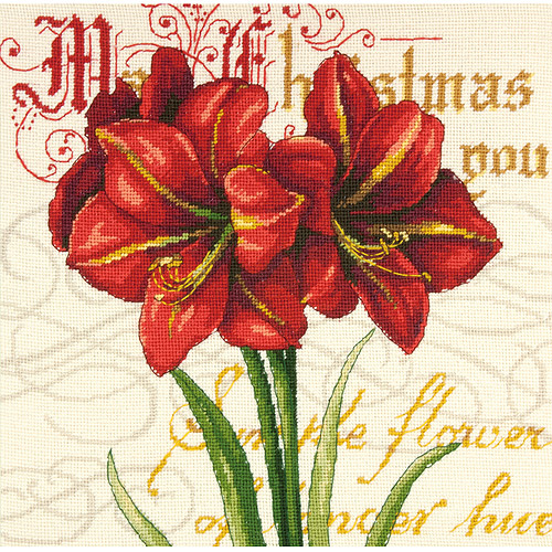 "Dimensions Elegant Amaryllis Needlepoint Kit, 18"" x 18"""