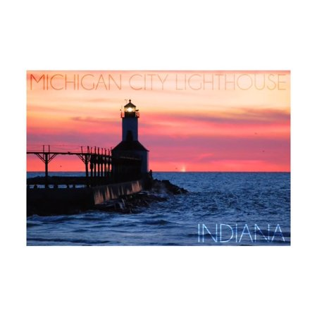 Indiana - Michigan City Lighthouse Print Wall Art By Lantern Press (Michigan City Lighthouse)
