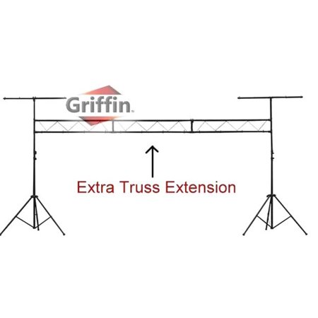 DJ Light Truss Stand System by Griffin|I-Beam Trussing Equipment Set|Hanging Mount Lighting Package for Music Gear, PA Speakers, Can Lights|T-Bar and Extra Truss Extension for Audio Stage Performance