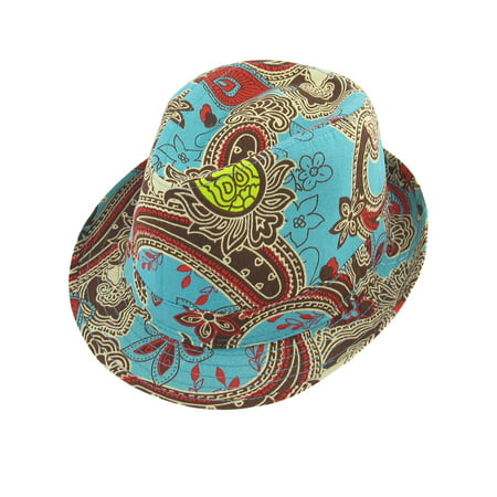 Men Women Summer Travel Floral Print Green Red Fedora Trilby Hat (Lime Green Fedora)